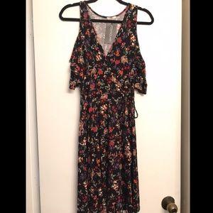Maitai Floral Multicolor Cold Shoulder Dress 1X